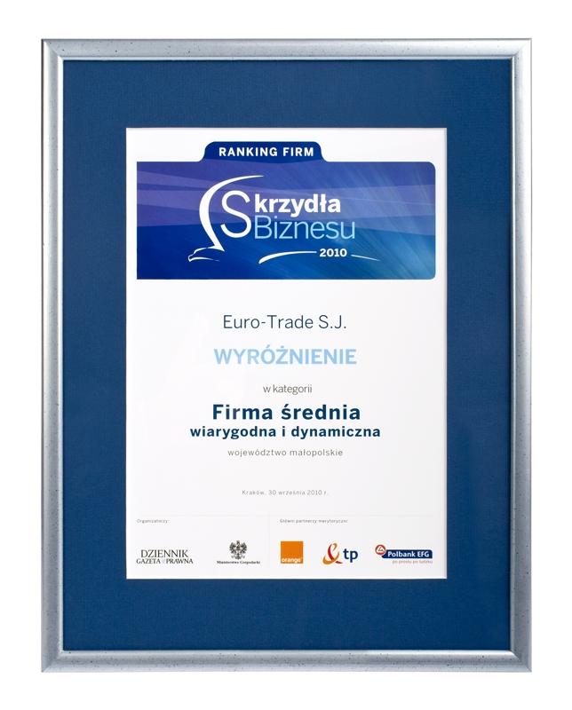 Euro-Trade otrzymał wyróżnienie Skrzydła Biznesu 2010
